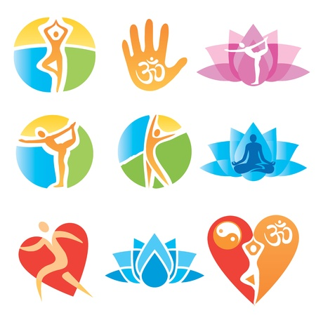 Set of yoga and fitness, colorful icons. Vector illustration. Vectores