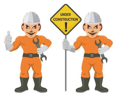 Construction workers with spanner and sign UNDER CONSTRUCTION Vector