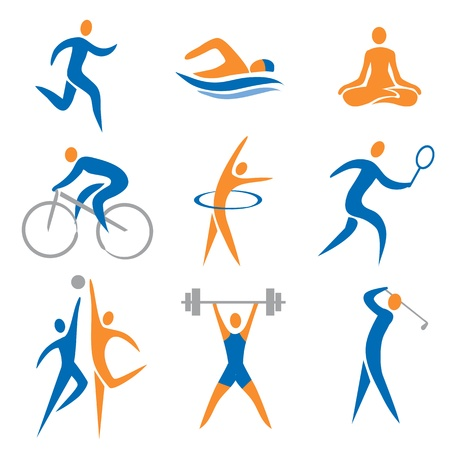 nadar: Set de iconos del deporte de fitness,. Ilustraci�n del vector.