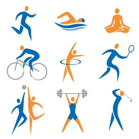 Set di icone di sport, fitness. Illustrazione vettoriale. Vettoriali