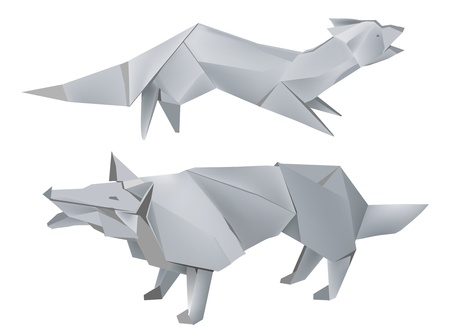 Illustration of folded paper models, fox and wolf on white background, Vector illustration. Ilustracja
