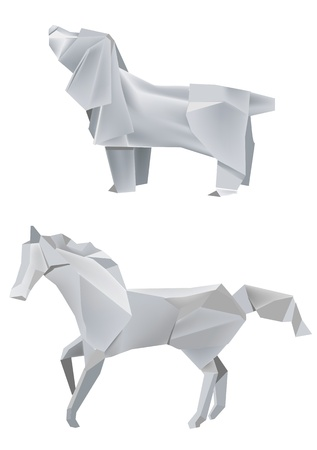 Illustration of folded paper models, dog and horse on white background, Vector illustration. Vector