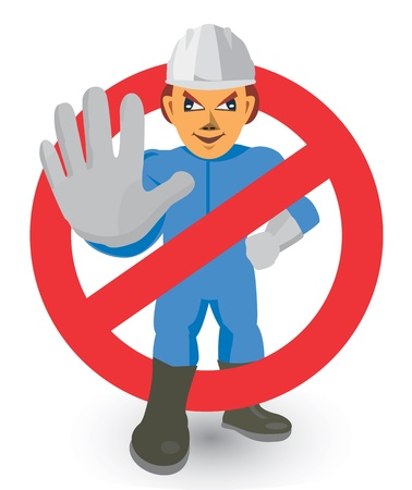 keep out: Construction Worker showing stop gesture. Vector illustration.