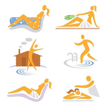 Set de bienestar, sauna, spa, masajes iconos ilustración