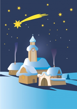 christmas star: Christmas winter night landscape in Central Europe with Bethlehem star illustration