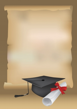 Scalable  illustration of Scroll Paper with of space for your text with a diploma and mortarboard cap symbolizing graduation.