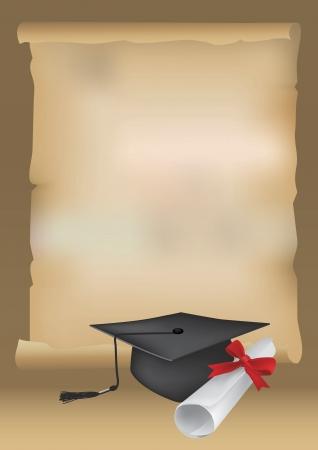 gorros de graduacion: Ilustraci�n escalable del Libro de desplazamiento con el espacio para el texto con un diploma y la tapa del birrete que simboliza la graduaci�n.