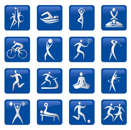 Set of sport, fitness, massage blue web buttons. Vector