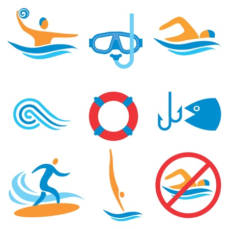 Colorful pictograms with water sport activities Vectores