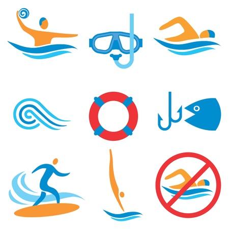 Pictogramas coloridos con deportes acuáticos Foto de archivo - 14806118