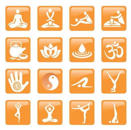 Set of yoga, massage and spa icons and web buttons