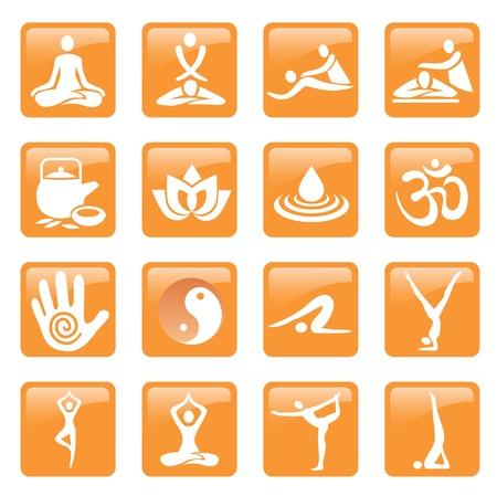 massaggio: Set di icone di yoga, massaggi e centro benessere e pulsanti web Vettoriali