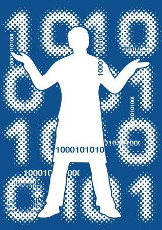 Binary code with male silhouette Stock Vector - 15093321