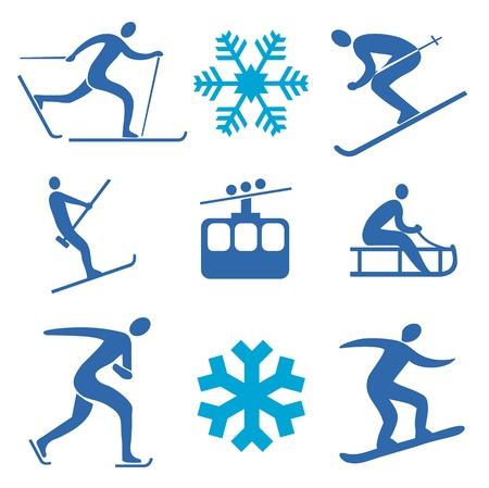 스키 타는 사람: 겨울 스포츠의 아이콘 일러스트