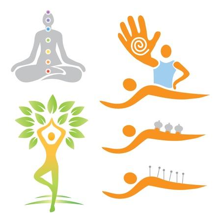 ILUSTRACIONES de yoga y los símbolos de la medicina alternativa. Vector ilustración.