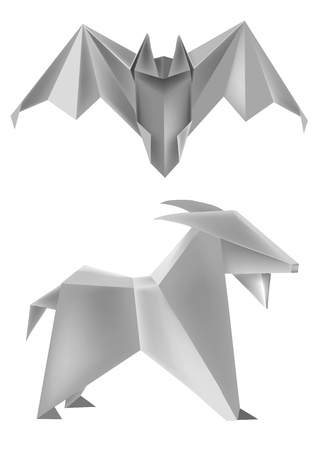 Vector Illustration of folded paper models bat and goat.