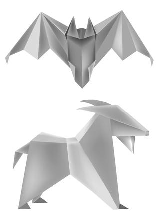 folded paper: Vector Illustration of folded paper models bat and goat.