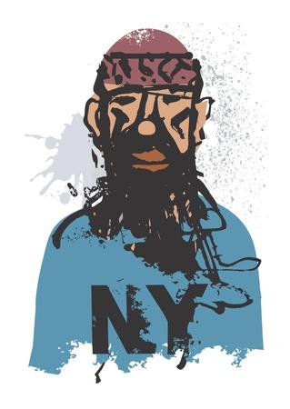 hombre pobre: Un retrato de personas sin hogar en un fondo blanco, ilustración vectorial.