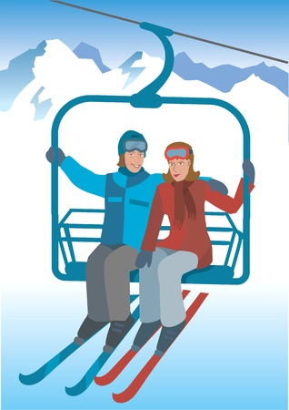 skier: Two skier sitting on the lift to the top of the mountains. Vector Illustration