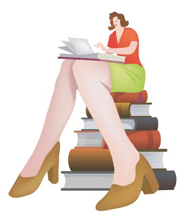 adult education: Attractive woman reading and  siting on books.