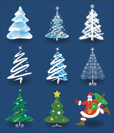 cartoon christmas tree: Set of christmas trees and Santa Claus running with christmas tree.  Illustration