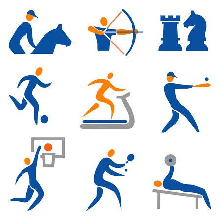 Set of sport, fitness, colorful icons.illustration. Vector