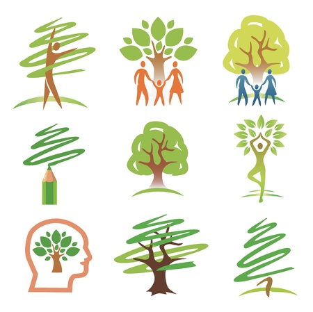 Set of tree with people design elements. illustration. Vectores