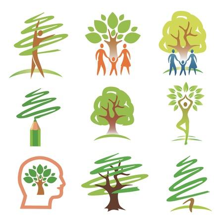 Set of tree with people design elements. illustration. Illustration