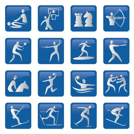 waterpolo: Juego de deporte, fitness, iconos azules. ilustración. Vectores