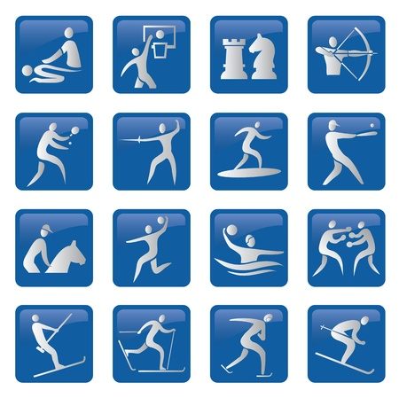 ball on water: Set of sport, fitness, blue icons. illustration.