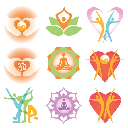 Set of yoga and health colorful icons and symbols. Vector illustration.