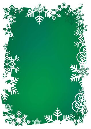 Frame of snowflakes on the green background. vector illustration.