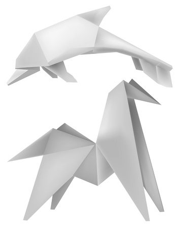 Illustration of folded paper model dolphin and horse.  Vector