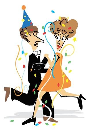 tanzen cartoon: Ein junges Paar tanzt unter Konfetti bei der Silvesterparty. Illustration