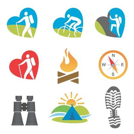 Set of nine outdoor, turism, hiking, icons. Vector