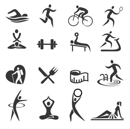 weights: Icone con le attivit� sportive e stile di vita sano. Illustrazione vettoriale. Vettoriali