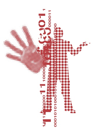 male silhouette: Red Grid  grunge male silhouette on the white background.  illustration.