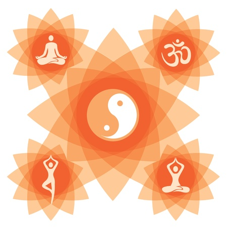 Abstract decorative backgound with yoga symbol and positions.  Vector