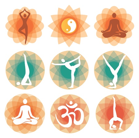 asana: Abstract decorative backgrounds with yoga symbols and positions. Vector illustration. Illustration