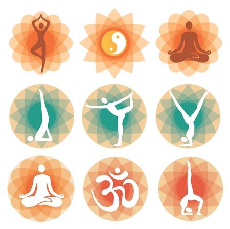 hinduismo: Resumen fondos decorativos con símbolos y posiciones de yoga. Vector ilustración. Vectores