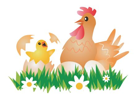Happy Easter Chicken, Hen  and eggs. Vector illustration suitable for Easter. Vector