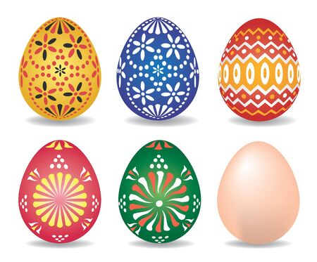 paschal: Set of Easter eggs. Vector illustration suitable for Easter.