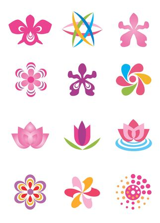Set of color design elements, stylized abstracted flowers. Vector illustration. Vector
