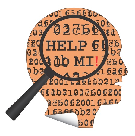 unreadable: Sticker shaped head with a hidden message - Help mi, under the magnifying glass. Illustration