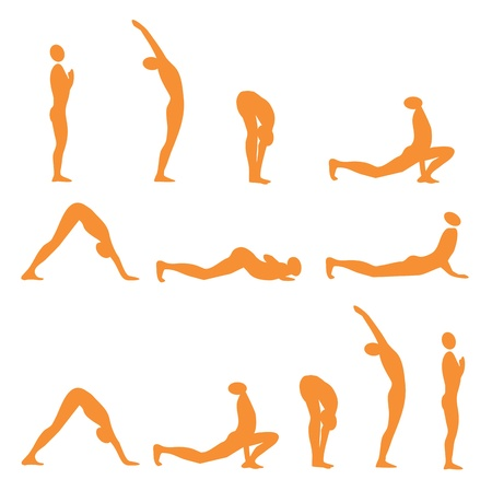 salutation: Set of sun salutation yoga exercises, vector illustration.