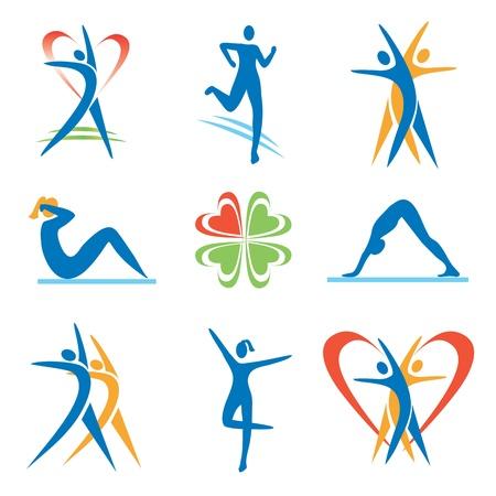 donna che corre: Icone con attivit� di fitness e stile di vita sano. Illustrazione di vettore. Vettoriali