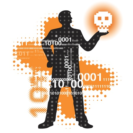 computer hacker: Abstract  cyberspace background with binary code and a male silhouette holding skull. Vector illustration