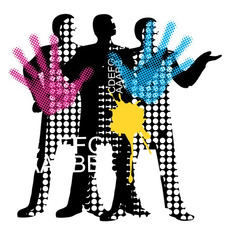Raster background  with silhouette team printers illustration. Vector