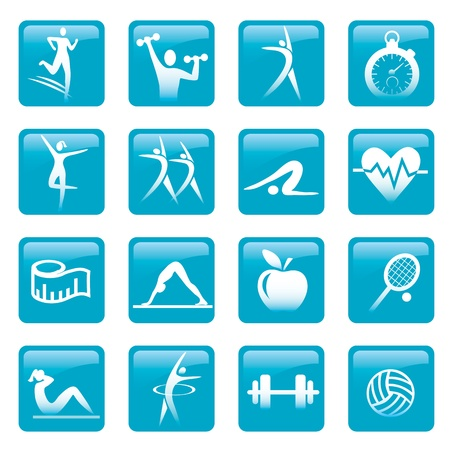activ: Set of fitness pictrogram buttons. Vector illustration.