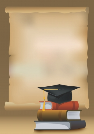 卒業の背景に本、教育と卒業イラストを象徴する鏝板キャップ